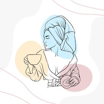 라인 아트 스타일 c에서 커피를 마시는 손으로 그린 아름다운 여자