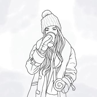 겨울 옷을 입고 라인 아트 스타일로 커피를 마시는 손으로 그린 아름다운 여성
