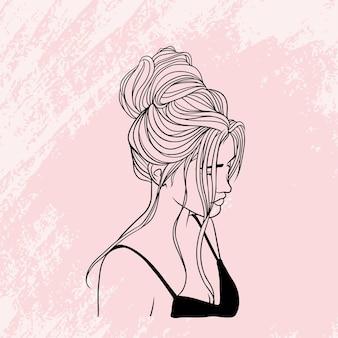 라인 아트 스타일의 우아한 머리를 가진 손으로 그린 아름다운 여성