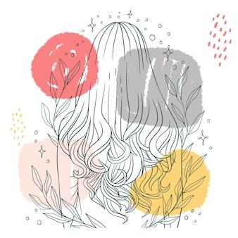 Нарисованная рукой красивая женщина с элегантной прической в стиле арт