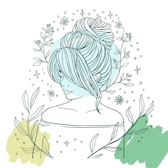 Нарисованная рукой красивая женщина с элегантной прической линии арт стиль c