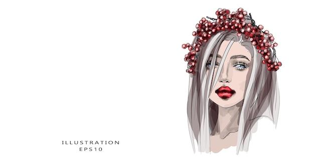 Hand drawn beautiful young woman face sketch stylish glamorous girly print