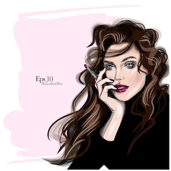 손으로 그린 아름 다운 젊은 여자 얼굴 밑그림입니다. 세련된 글래머 소녀 인쇄. 뷰티 살롱 디자인, 메이크업 아티스트 명함 배경 패션 일러스트.