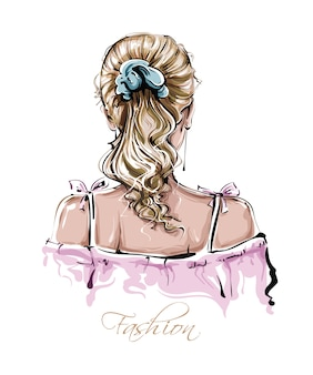 Hand drawn beautiful young woman hairstyle. stylish female blonde hair. fashion woman look.