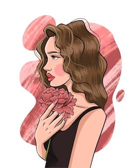 手描きの美しい若い女性のイラスト