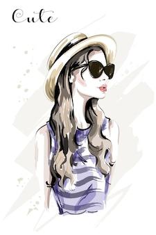 帽子の手描きの美しい若い女性