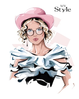 Hand drawn beautiful young woman in pink hat. stylish girl in eyeglasses. fashion woman look.