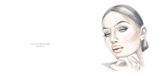 手描きの美しい若い女性の顔のスケッチ