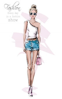 Hand drawn beautiful young woman in sunglasses. fashion female outfit. stylish girl in jeans shorts. fashion woman look.
