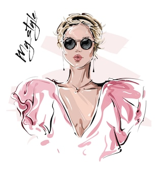 Hand drawn beautiful young woman in sunglasses. stylish girl. fashion woman look.