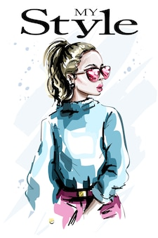 Hand drawn beautiful young woman in sunglasses