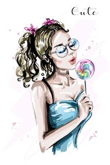 Нарисованная рукой красивая молодая женщина с конфетой