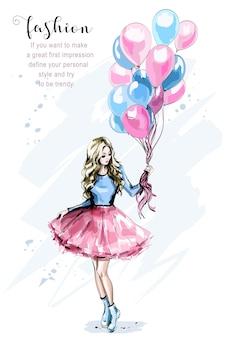 Нарисованная рукой красивая молодая женщина с разноцветными воздушными шарами