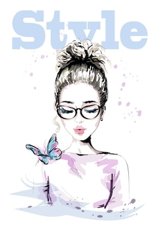 Hand drawn beautiful young woman with colorful butterfly
