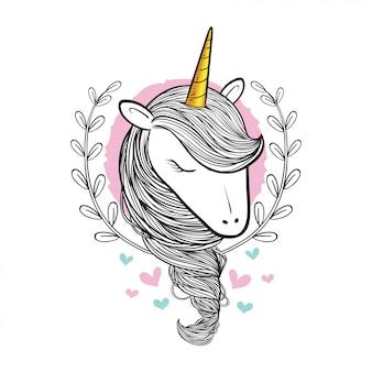 Hand drawn beauty doodle unicorn.