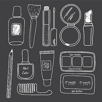Hand drawn beauty and makeup items illustration vector