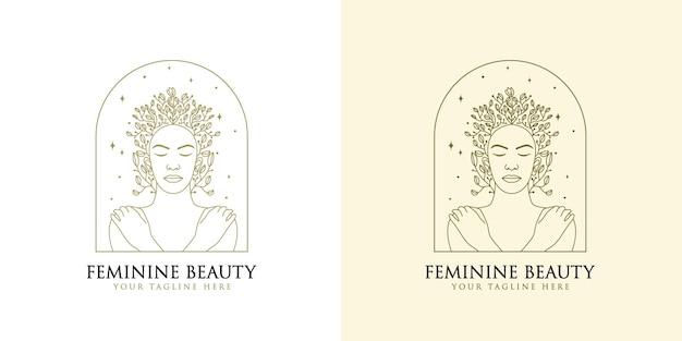 손으로 그린 뷰티 싱글 라인 아트 여성 여성 얼굴 피부 헤어 스파 뷰티 브랜드에 대한 꽃 로고