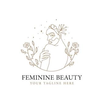 Hand drawn beauty single line art feminine woman face floral logo for skin hair spa beauty brand