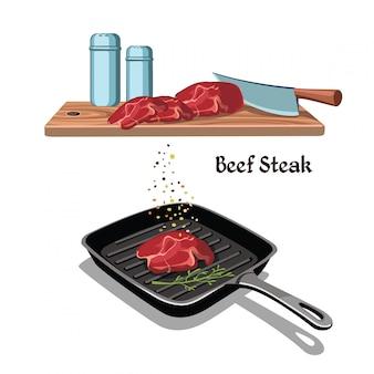 손으로 그린 쇠고기 스테이크 요리 개념