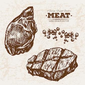 Hand drawn beef steak
