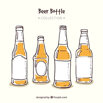 Hand drawn beer bottle collection