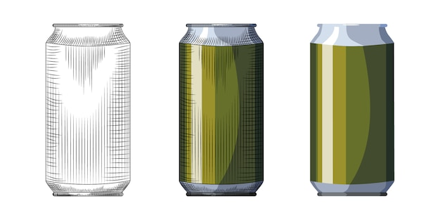 Hand drawn beer can template. beverage green can isolated on white background.