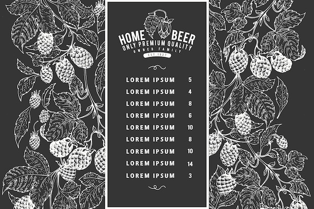 Hand drawn beer design template. vector brewery illustrations on chalk board. vintage hop background