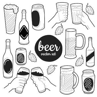 手描きのビールの要素。メニューの装飾、ウェブサイト、バナー、プレゼンテーション、背景、ポスター用に設定します。ベクトルイラスト。