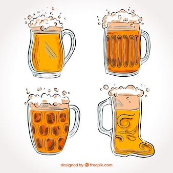Hand drawn beer glass & mug collection