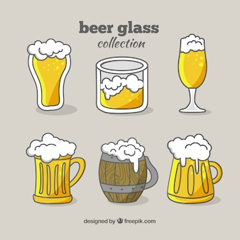 Hand drawn beer glass & mug collection