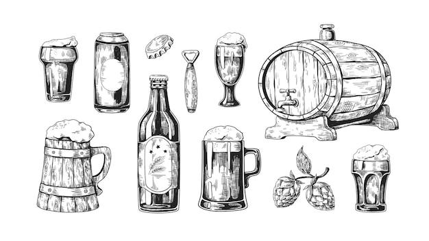 Нарисованная рукой иллюстрация пива