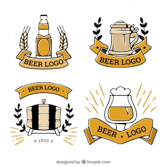 Hand drawn beer logo collection