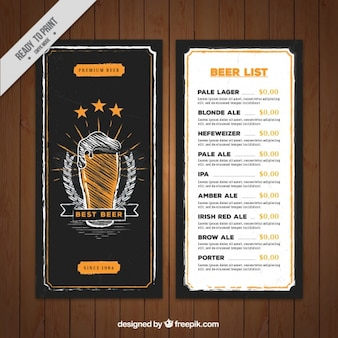 Hand drawn beer menu template in retro style