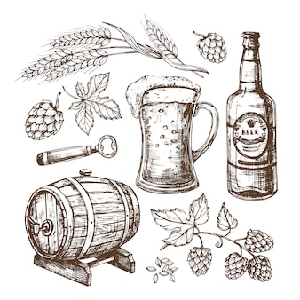 Hand drawn beer mug, barrel, wheat and malts ears, hops. isolated  set in engraving style