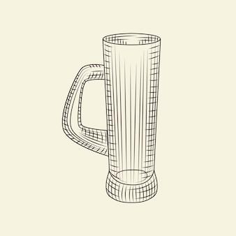 手描きのビールジョッキ。明るい背景に分離されたビールの空のガラス。彫刻スタイル。メニュー、カード、ポスター、プリント、パッケージングに。スケッチスタイル。ベクトルヴィンテージイラスト