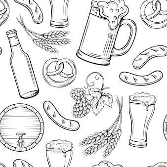 Hand drawn beer seamless pattern.