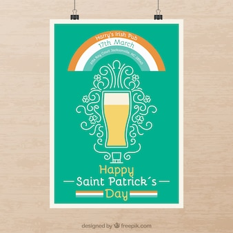 Hand drawn beer st. patrick poster