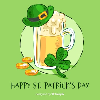 Hand drawn beer st patrick's day background