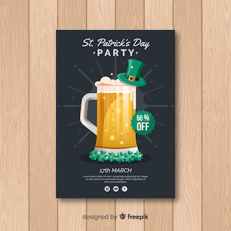 Hand drawn beer st patrick's day party poster