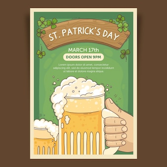 Hand drawn beer st. patrick's day poster template