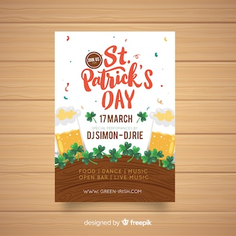 Hand drawn beer st patrick's party poster