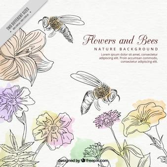 手描きミツバチと水彩画の花の背景