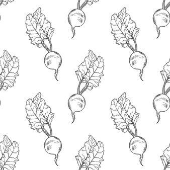 手描きのビートルートのシームレスなパターン。