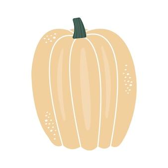 Hand drawn beige autumn pumpkin with details