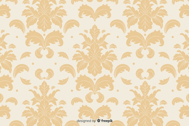 Hand drawn beige damask background