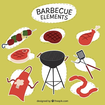 Hand drawn berbecue elements labels