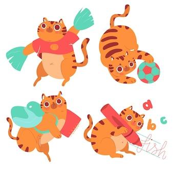 Hand drawn bernie cat education stickers set