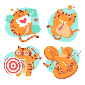 Hand drawn bernie the cat sticker collection