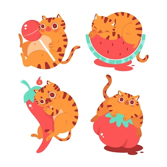 Hand drawn bernie the cat stickers collection