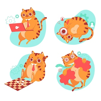 Нарисованная рукой коллекция стикеров кота берни